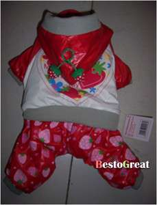 Cute Red Pet Dog apparel cloth Coat Trouser 8~18# PA13