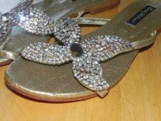 BEVERLY FELDMAN RHINESTONE ENCRUSTED METALLIC GOLD BLING FLAT SANDALS