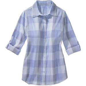 Just My Size   Womens Plus Pucker Plaid Shirt Womens Plus