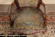 French Provincial Needlepoint Hunt Scene Armchair
