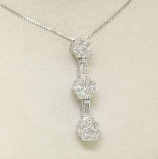 14k White Gold Diamond Triple Cluster Pendant w/ Chain