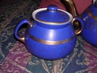 Antique Hall Art Nouveau Cobalt Blue & Gold Tea Set