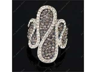 Simple gray rhinestone crystal fashion jewel ring Sz 8