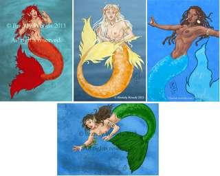Exotic MERMAID ACEO Set fantasy art fairy Brandy Woods