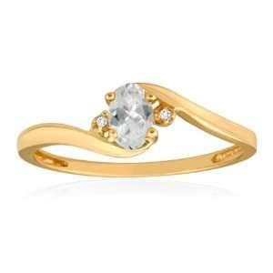 APRIL Birthstone Ring 10K Yellow Gold White Topaz Ring Jewelry