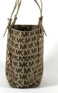 Michael Kors Brown Signature Logo Canvas Gold Handle Tote Shoulder Bag