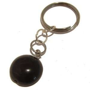 Crystal Black Circle Key Ring Stone Silver Vitality: Everything Else