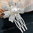 Plated Rhinestone Crystal Pearl Flower Bridal Hair Comb Pin 1.5
