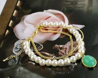 Womens Beautiful Multi Layer Pearl Bracelet #B11