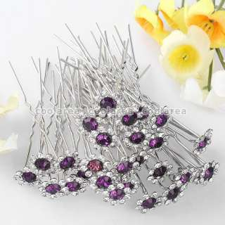 100p Purple Clear Crystal Sunflower Wedding Bridal Hair Pins Accessory