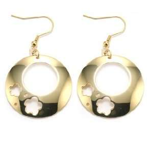 Polished Gold Plated Stainless Steel Hoop Earrings With