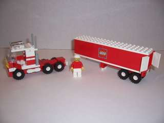 LEGO   SEMI TRUCK w/ TRAILER & Minifig (Red & White)