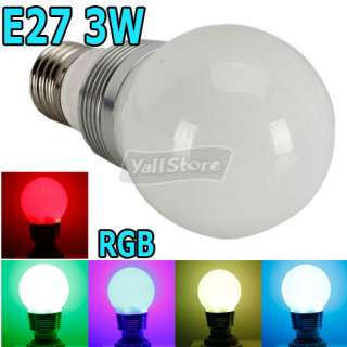 E27 3W 85 265V 100LM RGB Aluminum LED Multi Color Globe Light