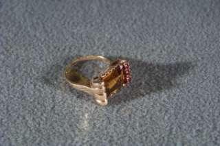 ANTIQUE 14 K GOLD ART DECO GOLDEN CITRINE RUBY RING 4.5