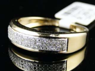 10k MENS YELLOW GOLD DIAMOND WEDDING BAND RING 1/4 CT