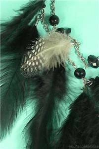 Genuine Black Feather Spot & Bead 2 Layer Chain Necklace Earring Set