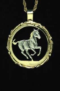Horse W/Bezel Cut Coin Pendant Necklace 1 1/8 diam.