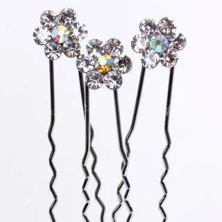 10x Silver Tone Flower Hair Pin Clips AB Crystal Bridal