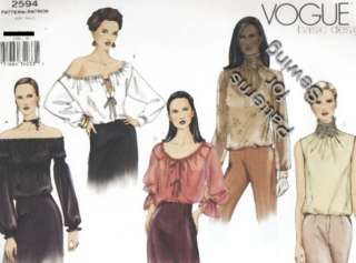 Pattern Vintage Woman Vogue Basic Blouses Sz 18 22 OOP