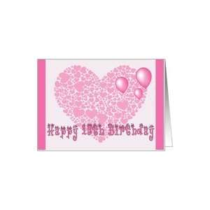 15th Birthday, Pink hearts, balloons & hearts Card Toys & Games