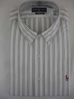 Polo Ralph Lauren Mens DRESS SHIRT Classic Fit Striped White Black
