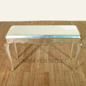 Distressed Silver/Gold French Mirrored 4.5Ft Console Desk Table