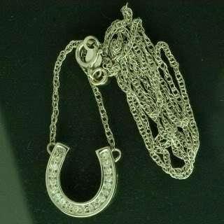 14K White Gold Diamond Horseshoe Pendant, 0.200 Ctw