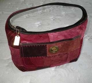 BURGUNDY Pierced Patchwork Leather Suede Hobo Bag Purse Satchel