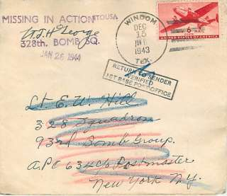 1943 World War II Cover To 93rd Bomb Group / 328th Bomb Squadron