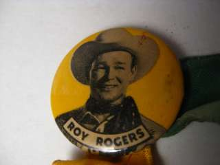 VINTAGE ROY ROGERS CELLO PIN BACK BUTTON 1 1/4 RIBBONS