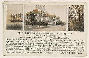 Lakehurst NJ c1914 Pine Tree Inn Advertising Postcard