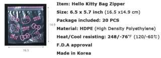 HELLO KITTY Plastic Zipper Bag Food Storage Travel Cosmetic Vinyl