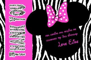 Pink Zebra Print Mickey & Minnie Mouse Thank You Cards