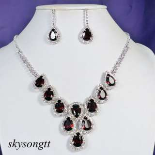 Dark Red Rhinestone Clear Crystal Pendant Necklace Earrings Set P038R