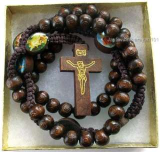 Brown Wood Rosary Beads Rosaries Wooden Cross Gift Box