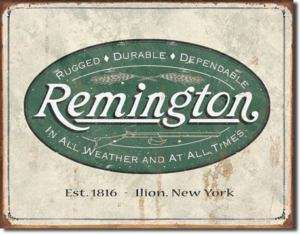 Vintage Retro Tin Sign Remington Firearm Weatherd Logo