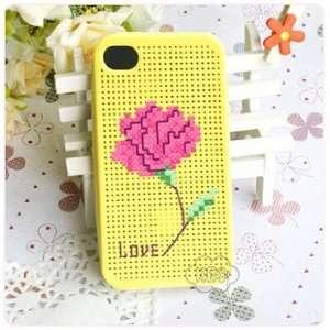 KEC DIY iPhone 4 Case Cross Stitch Case, Carnation Cell