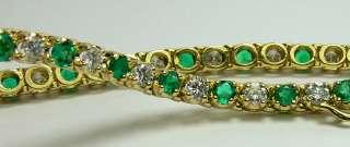 Sparkling Colombian Emerald & Diamond Tennis Bracelet 5.60tcw 14k