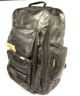 Leather Rolling Travel Bag / Backpack Combination Eight Lined Zippered