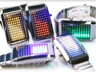 Gift Blue Binary LED Light Dot Matrix Mens Womens Lady Digital Watch