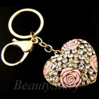 ADDL Item  Rhinestone Crystal Love Heart Key Chain