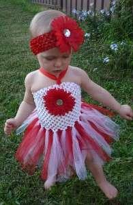 Beautiful Baby Girl Red & White Tutu Dress