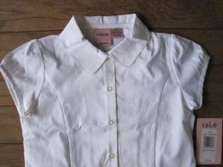 Girl School Uniform Shirt White Peter Pan Collar Sz 6 7 048283207983