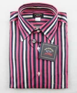 New PAUL & SHARK Italy Pink & Navy Stripe Dress Shirt 15 15.5 M NWT $
