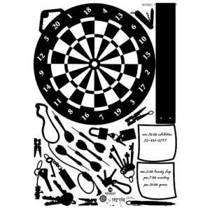 Dart Board and Keys Art Decor Easy Instant Wall Sticker Decal