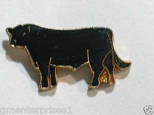 Vintage Black Angus Cattle Enamel Pin (sm) black