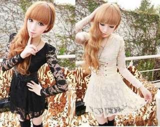 Womens Cute Lace Princess Slim Mini Dress Beige&Black FREE SHIP