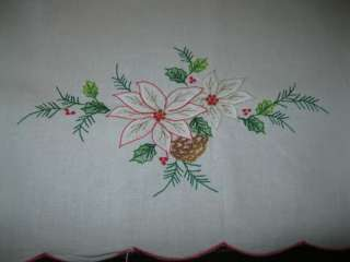VINTAGE LARGE COTTON CHRISTMAS EMBROIDERED TABLE RUNNER