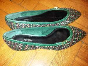 Ann Taylor Loft   Green/Brown Tweed Ballet Flats   Brand New