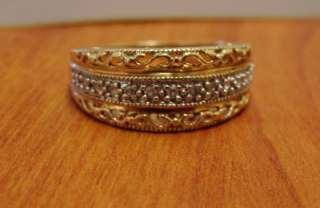 10K YELLOW GOLD MOMS DIAMOND WIDE BAND RING VINTAGE